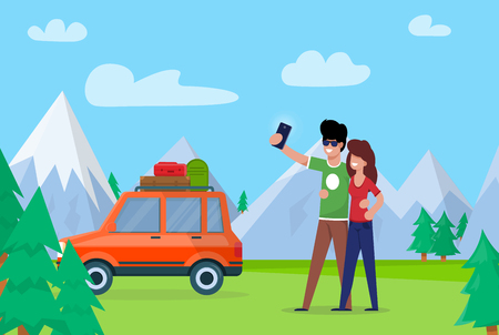 Couple Taking Selfie on Background Mountains. Couple Love Embraces and Makes Selfie. Man and Woman go by Car through Forest, Stopped to Make Nature against Background Snowy Mountains.