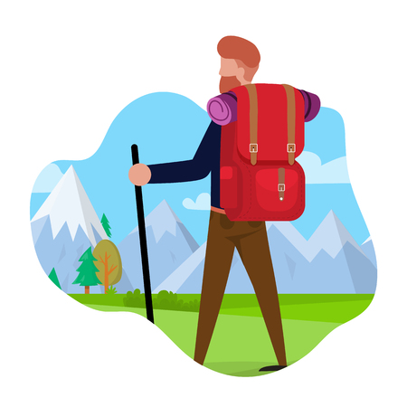Tourist Travels to Mountains Vector Illustration. Bearded Man Carries Camping Equipment, Rear View. Guy Looks at Snowy Mountains. Beautiful Nature Landscape. Man Gets Joy from Hiking Alone.