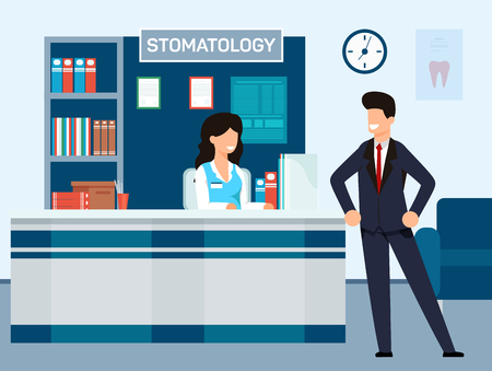 Reception at Dental Clinic Vector Illustration. Man in Suit came to Dental Clinic. Girl Administrator Smiles at Client. Interior Dental Office, Signboard with Inscription Stomatology.