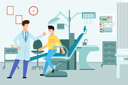 Interior Dentists Office Vector Illustration. Dentist Doctor Happily Welcomes  Patient. Man Sits in Dental Chair for Treatment. Furniture and Medical Equipment in Modern Clinic Cartoon.
