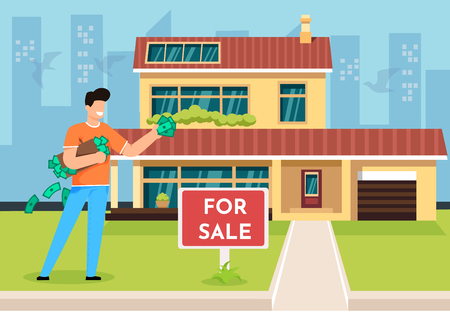 Vector Illustration Buying Property Cartoon Flat. In Foreground is Sign with Word for Sale. Young Happy Man Came with Money to Buy House. Guy is Happy to Get Big New Home for Himself. Иллюстрация