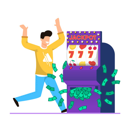 Big Win in Casino Slot Machine Cartoon Vector. Guy Exults and Rejoices at Big Money Winnings. On Screen Gaming Machine Fell Three Sevens. Lot Money Bills Falls Out Machine, Jackpot.