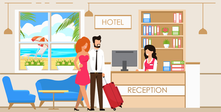 Vector Illustration Service at Hotel Reception. Man and Woman with Suitcase are Checked Front Desk Hotel. Woman Works in Reservation Service and Accommodation in Hotel. Cartoon Flat. Ilustração