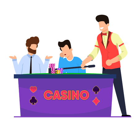 Flat Casino Roulette Game Vector Illustration. Men Play and Lose Roulette. Casino Employee Picks up Chips and Losing Bets at InstitutionS Cashier. Equipment for Games and Entertainment for Adults.  イラスト・ベクター素材