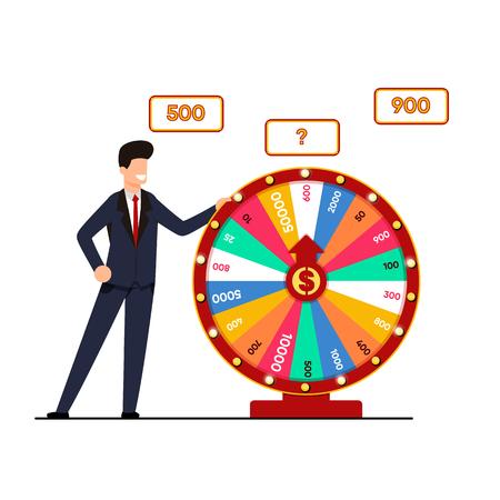 Lotterie mit Wheel Fortune Vector Illustration. Mann Anzug hält Lotterieziehung, Spinnrad mit Gewinnbetrag. Chance auf große Punktzahl. Spaß und Trockenheit für diejenigen, die Risikokarikatur lieben. Vektorgrafik