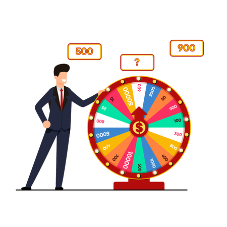 Lottery with Wheel Fortune Vector Illustration. Man Suit Holds Lottery Draw, Spinning Wheel with Winning Amount. Chance to Break Big Score. Fun and Dry for those who Love Risk Cartoon.