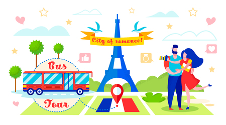 Bus Tour to Romantic City Vector Illustration. In Foreground Eiffel Tower in Paris. Loving Couple Came on Tour by Red Bus. Pleasant Rest Restoring Relationships with Married Couples.