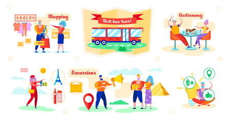 Set Advantages Best Bus Tour Vector Illustration. Man Shopping at 50 Percent Discount. Couple Trying New Dishes in Restaurant. Woman Photographs Cultural Objects. People on Guided Tours.