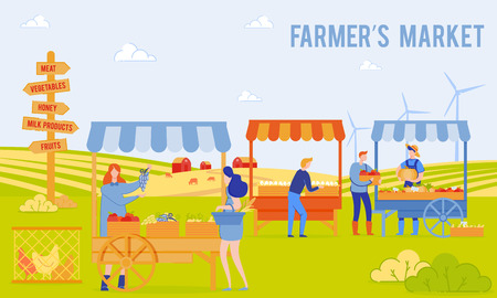 Vector Illustration, is Written Fermers Market. Men and Women Sell Agricultural Products and Pets Market. Woman Picks Grapes on Market. Pointer Meat, Honey, Dairy Products and Vegetables.