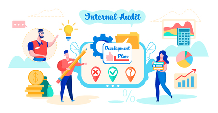 Internal Audit Development Plan Cartoon Flat. Managers Develop Plan. Determination Reliability Reporting and Accounting, Completeness and Compliance with Current Legislation and Established Standards. Ilustrace