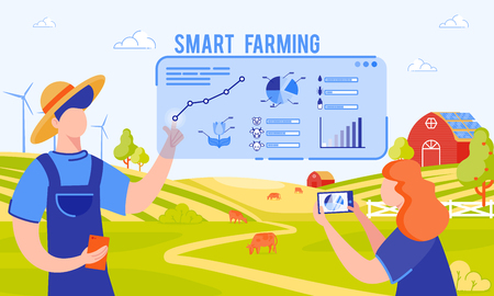Vector Illustration Inscription Smart Farming. Farmers and Engineers are Already Working to Feed Population. Development and Implementation Smart Farms. Man Analyzes Data on Feeding Cows. Illusztráció