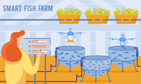 Vector Illustration is Written Smart Fish Farm. Farm Includes Car Feeders and Feed Loaders, Water Parameters Sensors, Ozonizers, Biofilters and Oxygen Generators. Woman Programs Fish Farm Equipment.