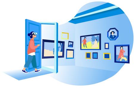 Donna nella sua stanza che indossa occhiali virtuali e guarda una galleria d'arte virtuale o un museo. Vr Education, Entertainment e Scena di realtà aumentata con personaggio femminile. Cartoon piatto illustrazione vettoriale Vettoriali