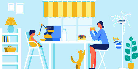 Domestic Robot Feeding Little Baby, Mother Sitting at Table Beside Enjoying Drinking Cup of Coffee and Cake. Robotics Technology in Human Life, Artificial Intelligence Cartoon Flat Vector Illustration Vettoriali