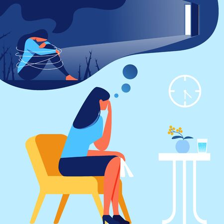 Woman in Office Psychologist. Out of Depression. Psychological Help. Vector Illustration. Training for Women. Depressed State. Woman in Blue T-Shirt. Human Consciousness. Depression Memories. Ilustracja
