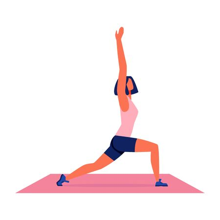 Woman in Pink Tank Top. Doing Yoga on Gymnastic Carpet on White Background. Sport Training for Women. Vector Illustration. Woman in Pink Sport Shirt on Red Carpet. Healthy Lifestyle. Fitness for Women