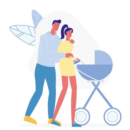 Young Family on Stroll Flat Vector Illustration. Smiling Father and Mother Cartoon Characters. Happy Parenting, Man and Woman with Baby Carriage. Married Couple with Child on Outdoor Walk 일러스트