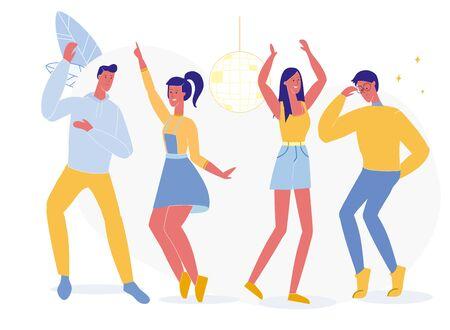 Étudiants Night Club Party Vector Illustration. Vie nocturne et divertissement pour adolescents, discothèque, jeunes hommes et femmes dansant des personnages plats. Les camarades de classe passent du temps ensemble, s'amusent