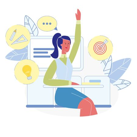 Smart Student at Classroom Vector Illustration. Female Pupil Raising Hand at Lesson, Sitting at Desk. University Academic Education, Clever Girl Studying. High School Subjects, Exact Sciences Icons Illustration