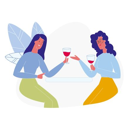 Girlfriends Drinking Red Wine Flat Illustration. Two Best Friends Chatting at Home, Restaurant, Holding Alcoholic Beverages Glasses. Cartoon Vector Female Characters Tasting Winery Product and Talking
