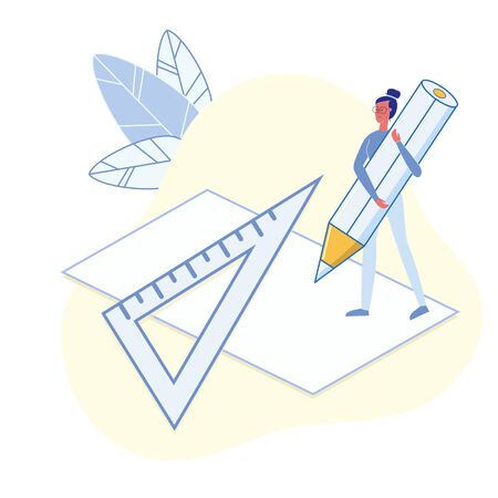 University Maths Lesson Flat Vector Illustration. Pupil Doing School Homework Metaphor. Girl Holding Pencil and Ruler Character. Technical Drawing Subject. Student Making Draft, Blueprint