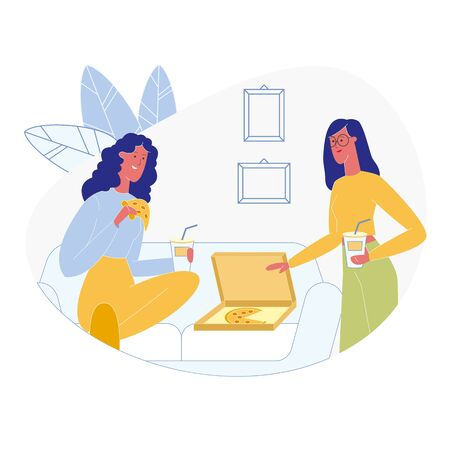 Girlfriends Eating Pizzeria Order Illustration. Two Friends Having Pizza Takeout Dinner, Drinking Juice and Chatting. Woman Holding Tasty Pizza Slice, Takeaway Coffee Cup Flat Vector Character