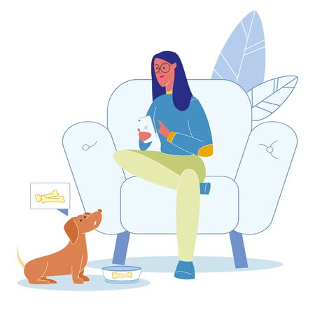 Pet Neglect, Irresponsible Behaviour Illustration. Busy Dachshund Owner Sitting in Armchair Cartoon Character. Young Woman Holding Smartphone. Hungry Dog with Empty Bowl. Girl Forgot to Feed Dog