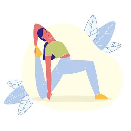 Una gamba re piccione posa piatto illustrazione vettoriale. Personaggio dei cartoni animati di giovane istruttore di fitness. Eka Pada Rajakapotasana, Yoga Backbends. Donna snella in posizione sirena, esercizio di allenamento per la flessibilità Vettoriali