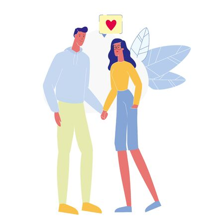 Affection, Love Confession Vector Illustration. Young Man and Woman Holding Hands Cartoon Characters. Amorous Relationship, Mutual Sympathy. Happy Couple in Love, Romantic Feelings Expression