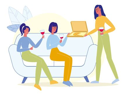 Friends Drink Wine, Eat Pizza Flat Illustration. Girls Party, Girlfriends Meeting. Female Cartoon Characters Enjoying Takeaway Junk Food and Alcoholic Beverages. Woman Offering Pizza Slice Иллюстрация