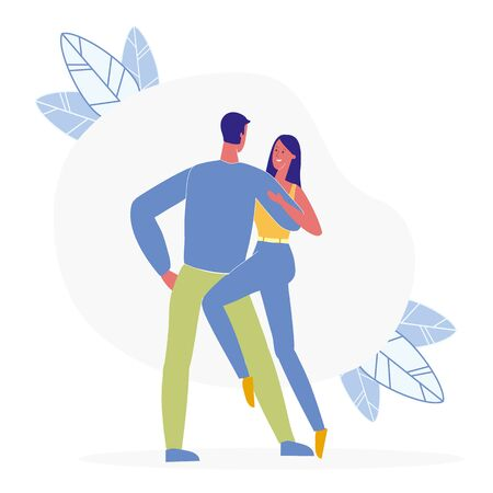 Pair Dancing Together Flat Vector Illustration. Cheerful Husband and Wife Cartoon Characters. Romantic Leisure, Passionate Tango. Young Couple on Date, Happy Girlfriend and Boyfriend Hugging