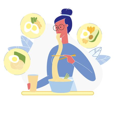 Woman Healthy Eating Flat Vector Illustration. High Protein, Weight Loss Diet. Female Cartoon Character Eating Noodles, Asian, Chinese Traditional Food. Eggs, Beans and Avocado Dishes