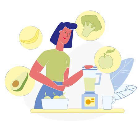 Vegetarian Smoothie Making Vector Illustration. Avocado, Broccoli, Apple, Banana in Electronic Blender. Woman Cooking Healthy Food, Using Household Appliance. Fruit and Vegetables Diet Illustration