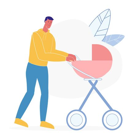 Father with Baby Carriage Flat Vector Illustration. Smiling Man, Male Babysitter Cartoon Character. Happy Fatherhood, Parent with Pram on Outdoor Walk, Stroll. Babysitting, Dad on Maternity Leave