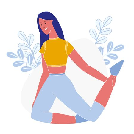 Slim Woman Exercising Flat Vector Illustration. Sportswoman Stretching Leg Muscles, Practicing Pilates. Fitness Trainer Wearing Sportswear, Showing Exercises. Smiling Healthy Girl Workout