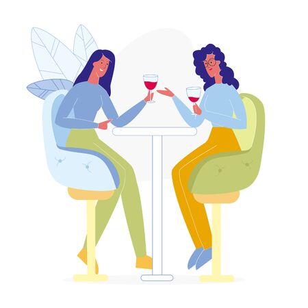 Girlfriends Drinking in Bar Flat Illustration. Two Best Friends Sitting in Restaurant, Holding Red Wine Glasses. Cartoon Vector Female Characters Chatting, Enjoying Alcoholic Beverages