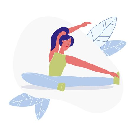 Seated Side Bend, Pilates Flat Vector Illustration. Flexible Young Woman in Sportswear Cartoon Character. Healthy Lifestyle, Sport Training. Smiling Sportswoman do Yoga, Fitness Exercise