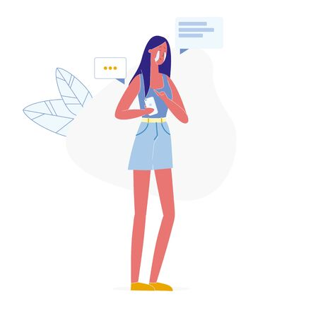 Relationship Breakup via Phone Vector Illustration. Crying Young Woman Holding Smartphone Cartoon Character. Heartbroken Girl in Depression. Sad Lady Received Upsetting Notification, Life Crisis Ilustrace