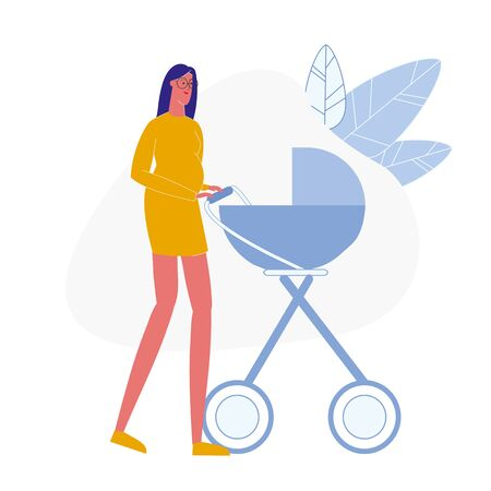 Pregnant Lady with Pram Flat Vector Illustration. Happy Young Mother in Glasses Cartoon Character. Gestation, Maternity. Smiling Expectant Mom with Baby Carriage on Walk, Stroll. Woman Expecting Child