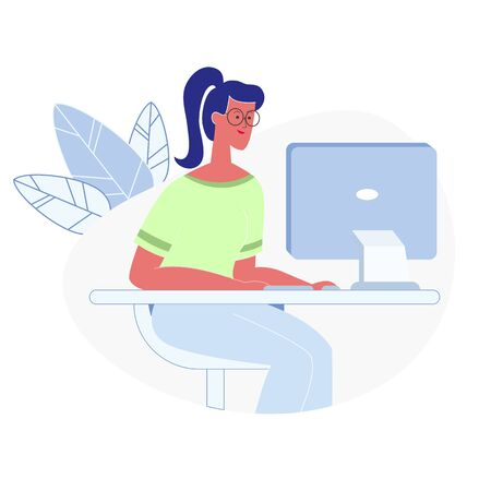 Woman Working on Computer Flat Vector Illustration. Remote Job, Freelance Activity. Smart Student in Glasses Searching Information on Internet. Computer Classes, Modern Electronics, Technologies Ilustrace