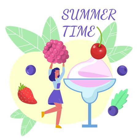 Summer Time Desserts Flat Web Banner Template. Female Barista Making Berries Smoothie. Chef Cooking Fruit Ice Cream Cartoon Vector Illustration. Girl Putting Raspberry, Strawberry, Blueberry in Glass
