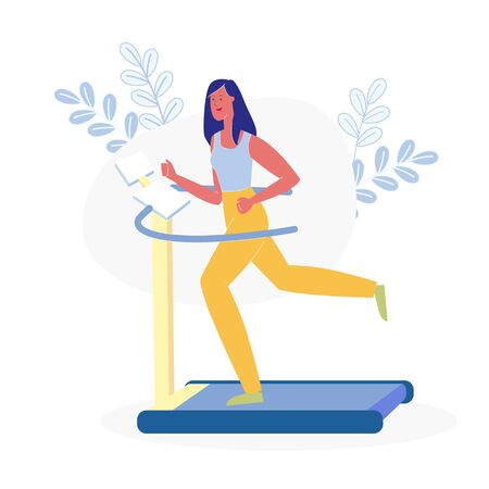 Female Athlete on Running Track Flat Illustration. Slim Woman in Sportswear, Fitness Trainer Cartoon Character. Young Lady Working out on Treadmill, Burning Calories. Physical Exercise, Training