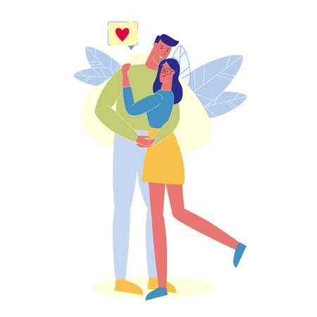 People in Love Hugging Flat Vector Illustration. Happy Married Pair, Husband and Wife Cartoon Characters. Smiling Boyfriend and Girlfriend Standing Together. Romantic Relationship, Feelings Expression