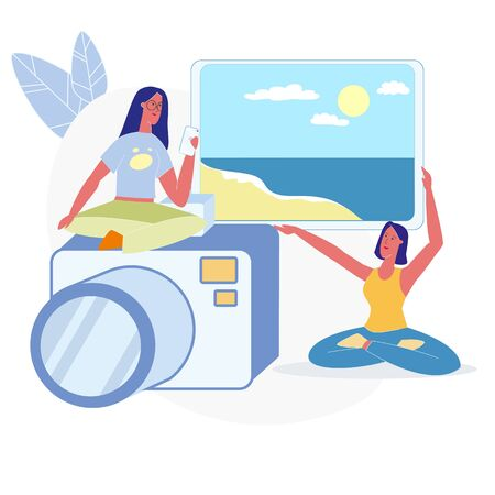Women Choosing Vacation Photos Flat Illustration. Girl Showing Sand Beach, Sea Resort Picture. Female Character, Holding Smartphone Sitting on Camera, Photographer Metaphor. Summer Holiday Memories Ilustracja