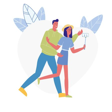 Happy Couple Taking Photo Flat Vector Illustration. Smiling Boyfriend, Husband and Girlfriend, Wife Cartoon Characters. Friendship, Romantic Relationship. Young Man and Woman with Selfie Stick Ilustrace