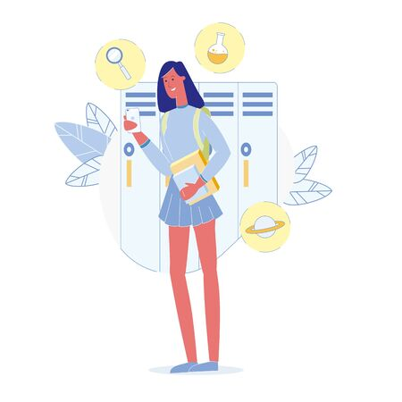 Teenage Girl in School Flat Vector Illustration. Female Student Wearing Uniform, Holding Textbooks and Notebooks Character. High School Schoolgirl, Pupil Preparing for Chemistry Lesson Ilustrace