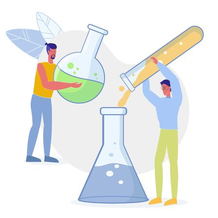 Laboratory Workers Experiment Flat Illustration. Medications Lab Testing, Scientist Characters Working. University Chemistry Department Students Making Research, Preparing for Exams Together