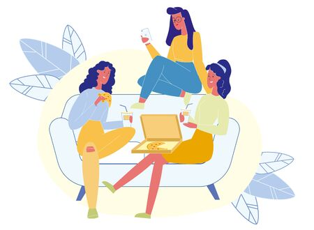 Hen Party, Female Friendship Vector Illustration. Cheerful Young Girlfriends Cartoon Characters. Women Talking, Eating Delicious Pizza and Drinking Soda. Ladies Sitting on Couch. Friends Communication