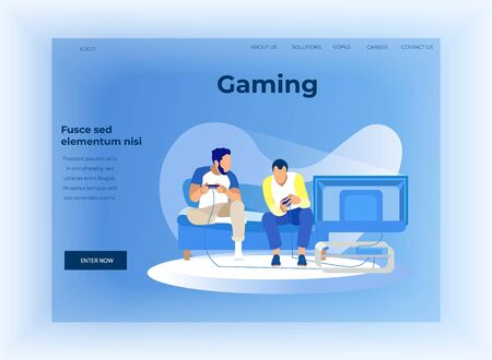 Flat Landing Page Offer Data Analysis in Technology Smart Gaming. Cartoon Guys Having Virtual Competition. Male Characters Playing Computer Video Games. Entertainment Industry. Vector Illustration