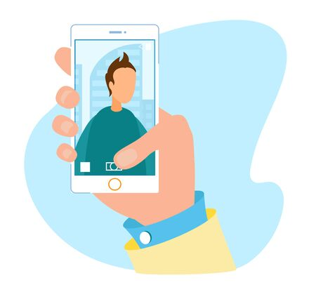Flat Cartoon Human Hand Holding Phone with Open Modern Multimedia Application. Camera Smartphone User Interface for Taking Portrait Photo and Making Selfie. Vector Snapshot Illustration Ilustrace